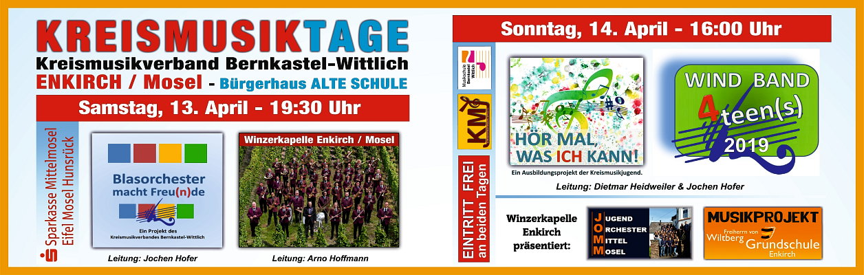 Kreismusiktage am 13./14. April 2019 in Enkirch.